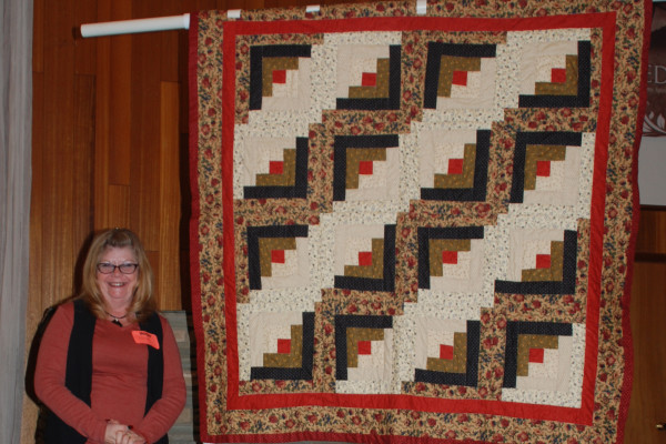 """Carmella Wilson created & quilted """"Log Cabin Quilt"""" as her """"first quilt from start to finish that looks good!"""""""
