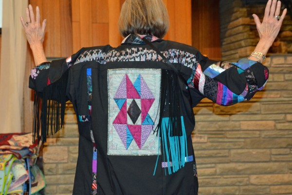 Cheryl Little owns this 1990s jacket, made by Oregon Treasures and the owners Barb Shefield & Bev Vickery, as a thank you.