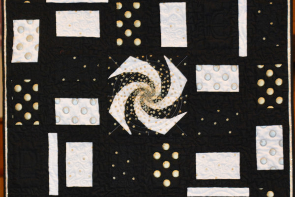 """Connie Emmen designed """"Sprial Bang Theory' from the Modern Quilt Guild Michael Miller fabric challenge.  This quilt will hopefully be juried into QuiltCon,  February of 2016."""