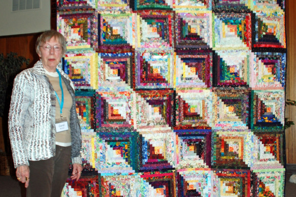 """Carol Mitchell designed her """"Log Cabin"""" in EQ6 in 2007.  Another unfinished quilt completed!"""