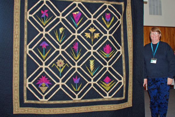 """""""Jinny's Garden"""" made & quilted by Marilyn Himes is from a Jinny Beyer BOM pattern - king sized!"""