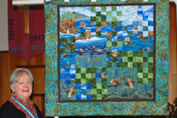 """""""Monterey Memories"""" by Phyllis Kizer & quilted by Paula Leonhard started with a panel of Monterey, CA.  The nine patch blocks were added after a Pizazz class!"""