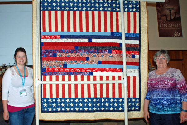 """The backside of Linda Murphy's """"America"""" for her niece.  Robyn Shafer quilted it."""