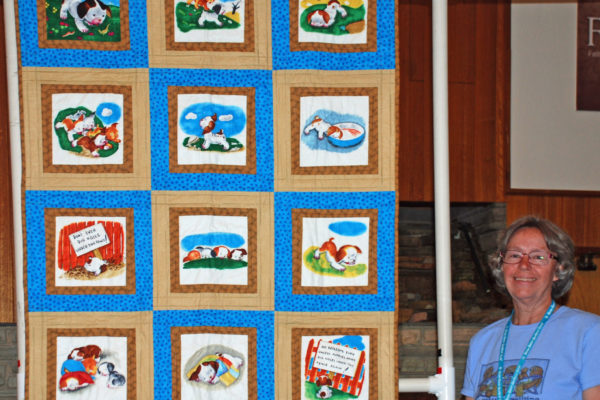 """""""Poky Little Puppy"""" was created & quilted by Margie Braach, an original for her grand-nephew."""