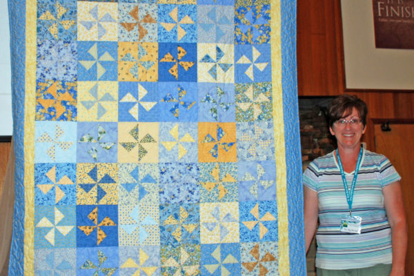 """Meri Kay Woodworth made & quilted """"Pinwheels, Just for Me"""", adapted from 'Wind Farm' by Miss Rosie's Quilt Co."""