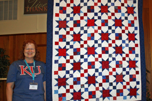 This Quilt of Valor was created by members of BBQ.  It was awarded to Anita Wallinger at the September Quilt Show. Anita served as a surgical ICU nurse at Lackland Air Force Base in Texas.