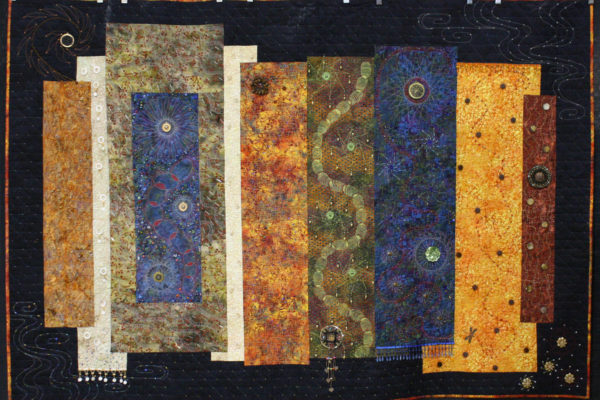 """the National Assoc. of Certified Quilting Judges Award and 2nd Place - Art/Innovative Quilts, """"Baubles, Bangles and Bright Shining Beads"""" by Carol Herbst"""