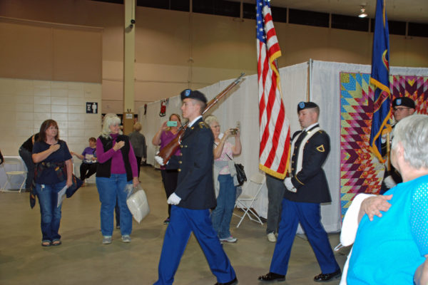 The Color Guard introducing the Quilt of Valor ceremony