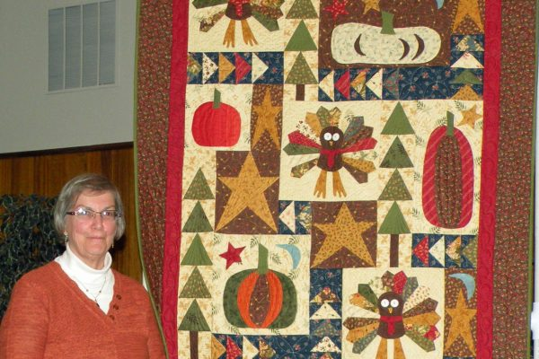 """""""Thankful"""" was appliqued, pieced and quilted by Barbara Smith. There was enough fabric in the kit to make a second quilt for a friend!"""