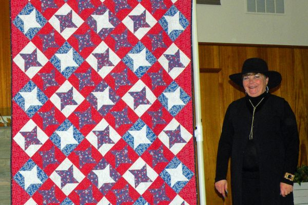 This Quilt of Valor was presented to Carmella Wilson at our Quilt Show in honor of her service in the Military.