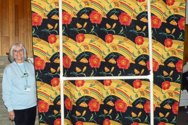 The backside of the Dollinger quilt is also an Asian fabric.