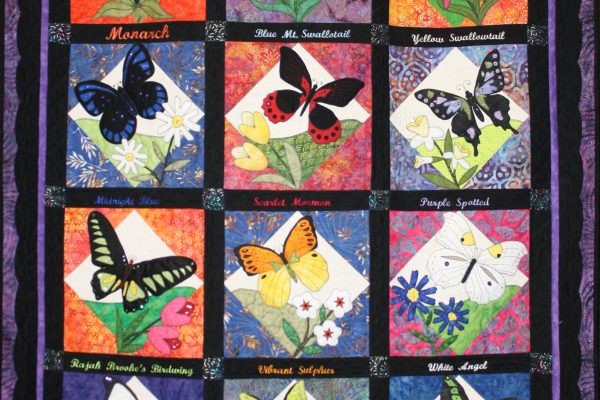 "1st Place - ""Fancy Flight"", appliqued and quilted by Florence Coffey."