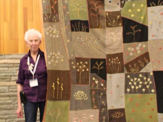 "Winter Garden is a wool and embroidery ""Crazy Quilt"" presented by Jan Cuff.  The quilt belongs to a friend and Jan asked to share it with the quilt guild.  Thank you Jan!"